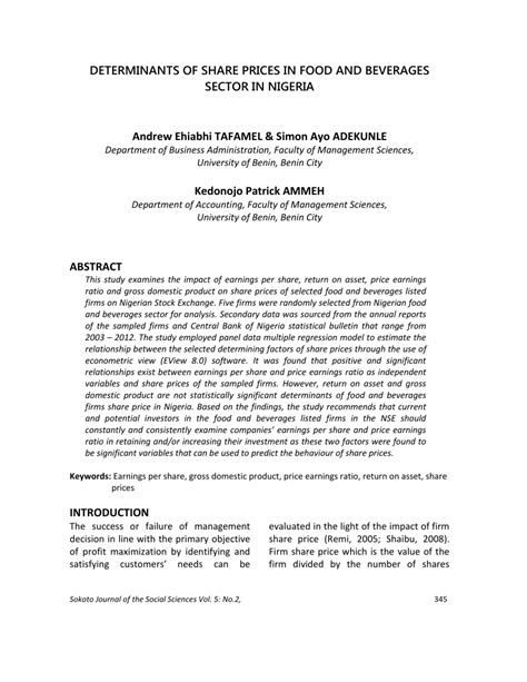 (PDF) DETERMINANTS OF SHARE PRICES IN FOOD AND BEVERAGES