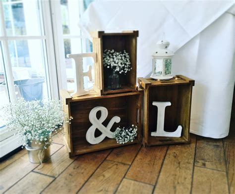 used rustic wedding decor wood crates used for a simple rustic wedding decoration