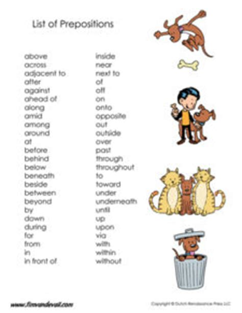 Prepositions Poster  Tim's Printables