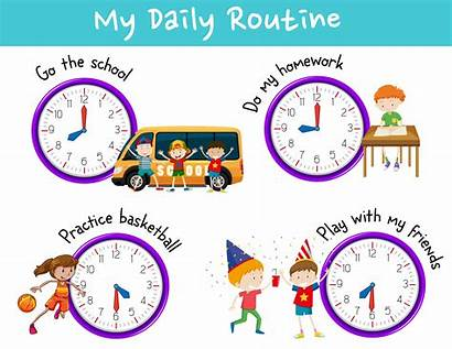 Routine Daily Activities Clock Vector Activity Illustration