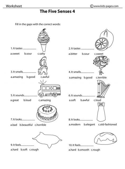 the five senses 4 b w worksheet