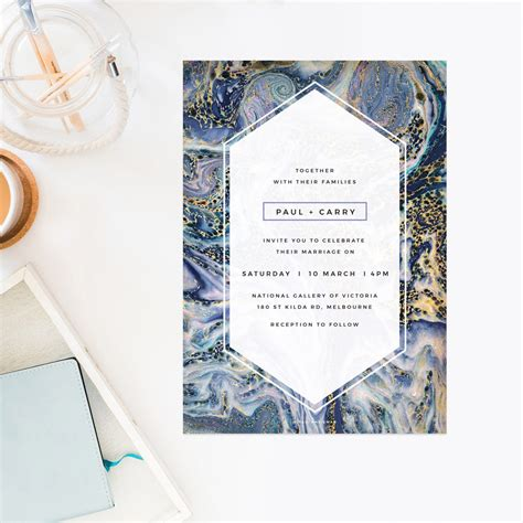 home design elements reviews blue purple and gold marbled wedding invitations
