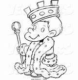 King Outline Coloring Cartoon Boy Pages Clipart Chess Vector Pieces Getcolorings Royalty Printable Leishman Ron Outlined sketch template