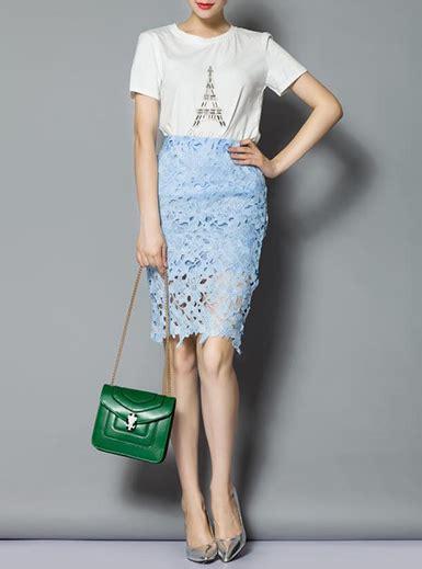 s 2 set light blue high waisted lace skirts