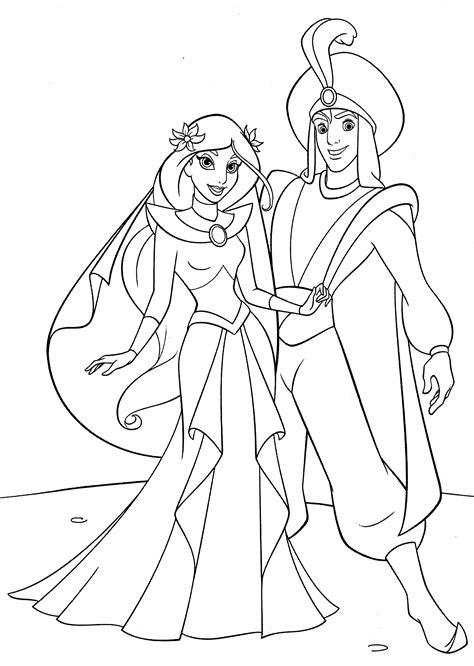 coloring princess jasmine disney aladdin prince popular walt