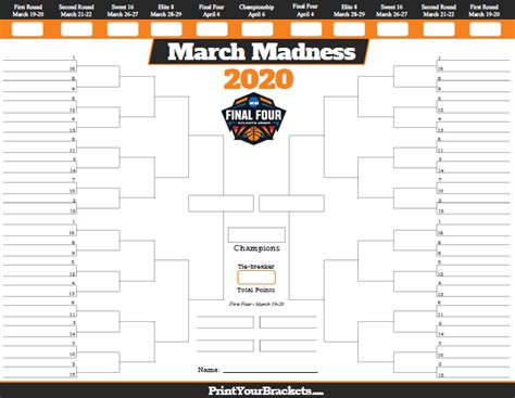 printable march madness bracket team records