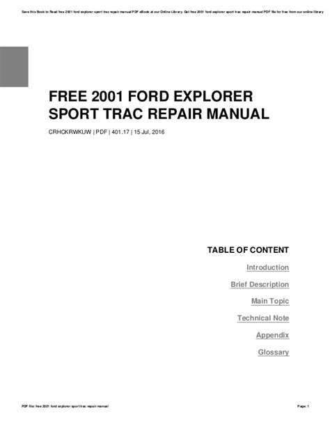 free service manuals online 2001 ford explorer sport trac auto manual free 2001 ford explorer sport trac repair manual