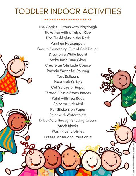 30+ Toddler Indoor Activities Printable List Included