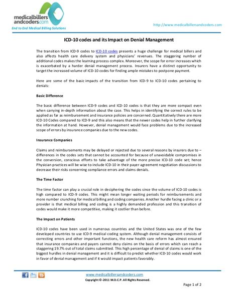 icd 10 codes and its impact on management