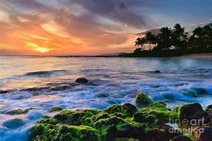 Sunset Poipu Beach - Kauai Photograph by Henk Meijer