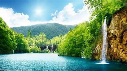 Desktop Natural Summer Waterfall Lake Trees Screen