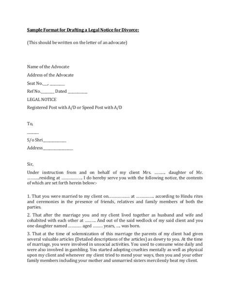 sample format  legal notice  divorce