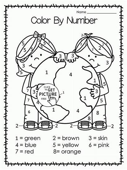 Earth Coloring Pages Number Printables Wuppsy Worksheets
