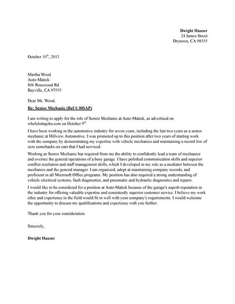 Application letter automotive servicing - www