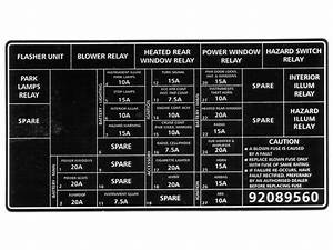 Holden Decal Fuse Panel Vx Commodore