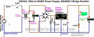 Regulated 120vac To 24vdc Power Supply Using Voltage Regulator Lm7824ct  Bridge Rectifier Mda980