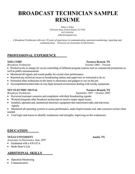 Nail Technician Resume Template by Broadcast Technician Resume Sle Cv Hints Resume