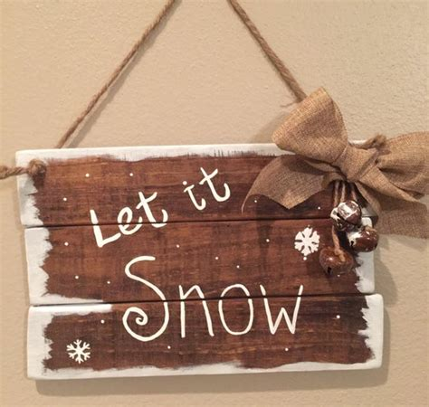 wooden christmas signs   snow christmas pallet signs