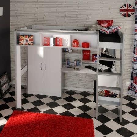 lit surélevé avec bureau intégré lit ado lit et mobilier chambre ado lit pour adolescent