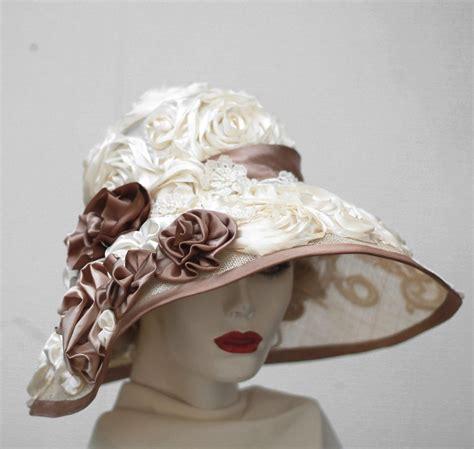 hand  fancy formal kentucky derby hat wide brim summer