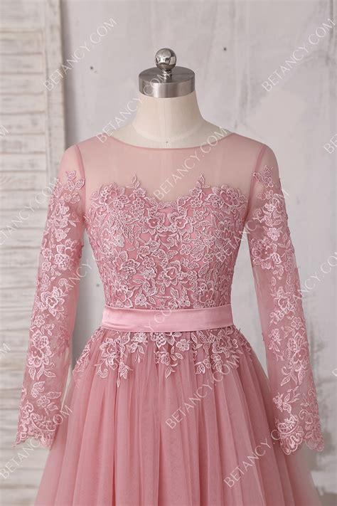 classic elegant dusty pink illusion tulle  lace long