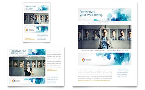 Counseling Brochure Templates Free by Behavioral Counseling Flyer Ad Template Design