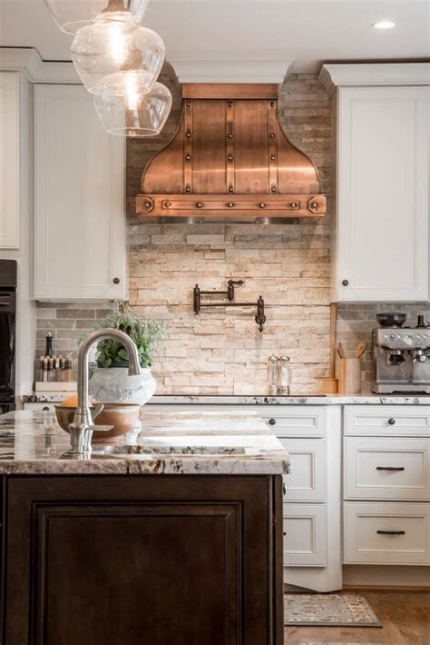 unique backsplashes for kitchen unique kitchen interior design white cabinets copper hood stone backsplash wood flooring new