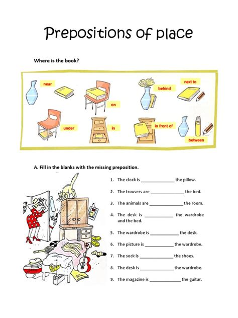 prepositions  place worksheet