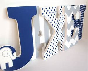 navy blue elephant and grey chevron letters personalized boy With blue wooden letters nursery
