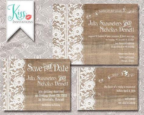 printable wedding invitations country chic burlap and lace