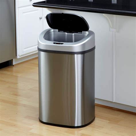kitchen trash can ideas nine dzt 80 4 touchless stainless steel 21 1 gallon