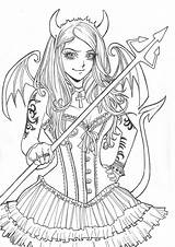 Coloring Anime Demons Inner Scary Deviantart Creepy Drawings Drawing Adult Manga Demon Horror Colouring Characters Angels Pencil Books Called Movie sketch template