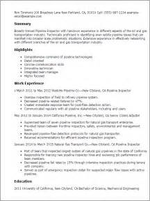 Utility Inspector Resume by Professional Pipeline Inspector Templates To Showcase Your
