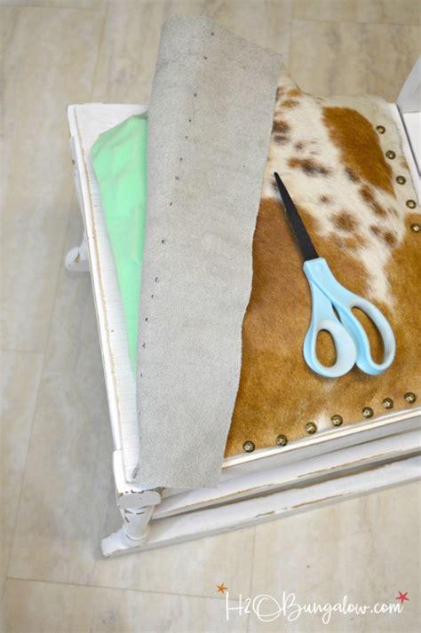 How To Sew Cowhide diy nailhead trimmed cowhide seat tutorial h2obungalow