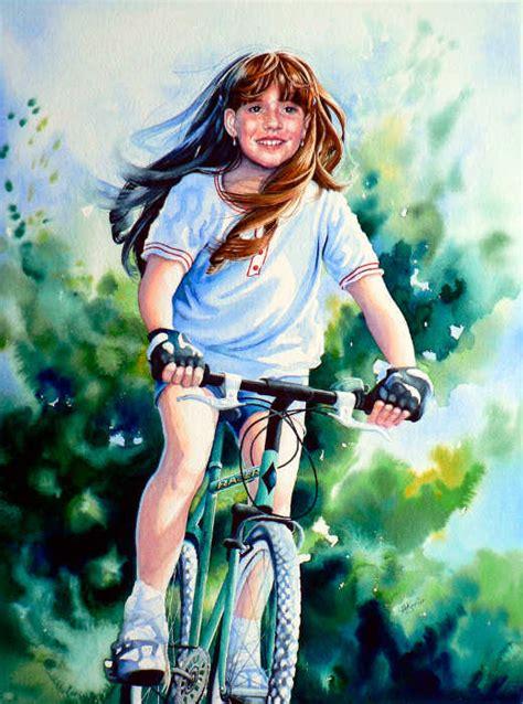 portrait  girl riding bike portrait commission