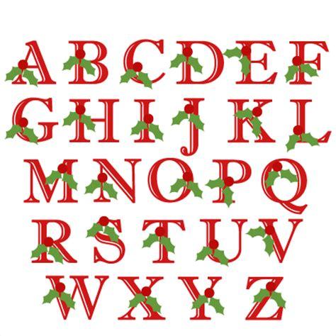 holly uppercase alphabet christmas svg scrapbook cut file