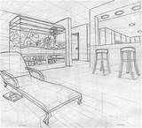 Perspective Point Drawing Living Futuristic Coloring Pages Fish Tank Livingroom sketch template