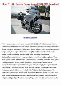 Bmw R1150rt Service Repair Manual 2001 2005 D By