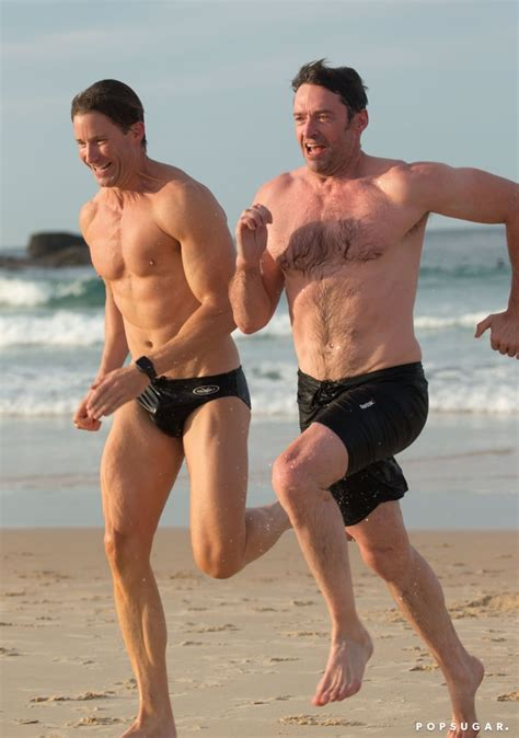 hugh jackman   beach   trainer august