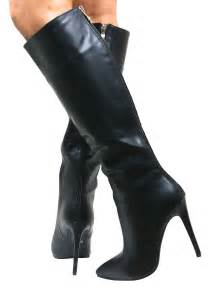 womens boots knee high leather stiletto heel womens knee high pointed boots faux leather zip size ebay