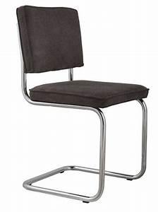 Chaise Velours Gris : zuiver chaise ridge rib velours gris fonce avec cadre chrome ~ Teatrodelosmanantiales.com Idées de Décoration