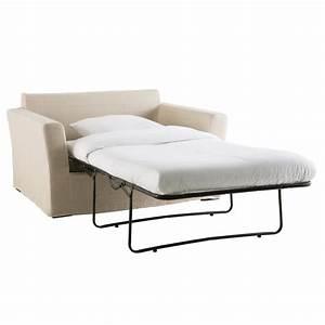 Canape lit 1 2 places en lin beige bartholome maisons du for Canapé lit une place