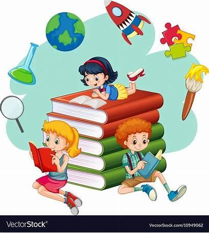Reading Books Vectorstock Cartoon Clipart Background Vector