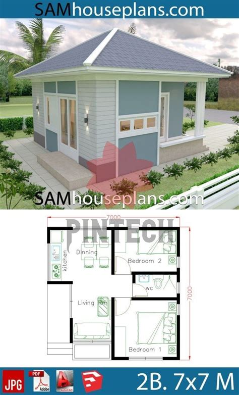 House Plans 7x7 with 2 Bedrooms full plans SamHousePlans