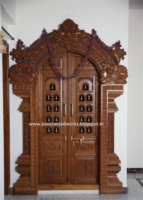 bavas wood works pooja room door frame  door designs