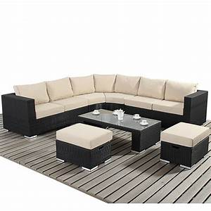 Round corner rattan sofa set with white mattress and for Round coffee table with sectional sofa