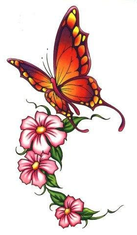 Butterfly Flower Tattoo Design Drawing