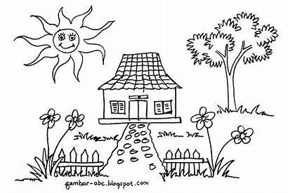 Mewarnai Gambar Sketsa Rumah Untuk Lingkungan Sederhana