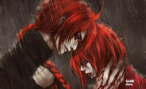 anime series characters red hair blue eyes rain blood guy