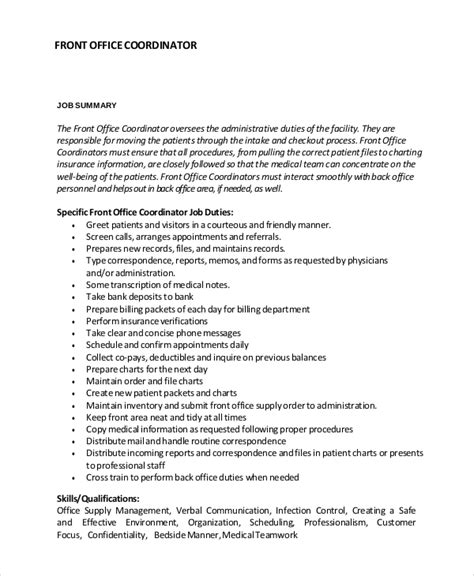 Front Office Coordinator Description by Sle Description 10 Exles In Pdf Word